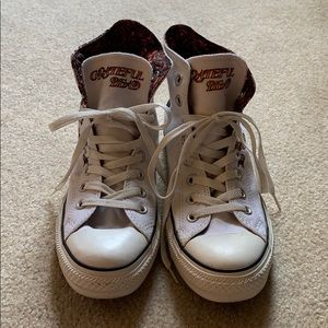Grateful Dead  white hightop Converse sneakers